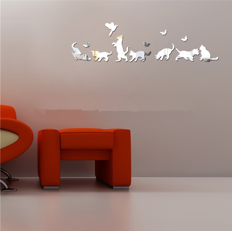 buy new diy cat mirrored wall stickers