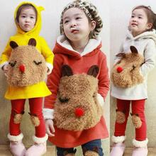 Winter Children 2Pcs Suit Cartoon Panda Thick Warm Sweater Lovely Pants Baby Girls Clothing Set Infant Kids Hooded Coat Clothes