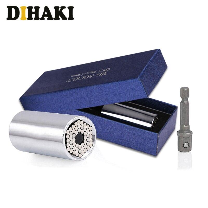 2 pçs conjunto de cabeça chave de torque universal soquete manga adaptador 7-19mm broca de energia catraca bucha chave aperto multi mão ferramentas