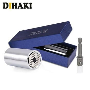 цена на 2Pcs Torque Wrench Head Set Universal Socket Sleeve adapter 7-19mm Power Drill Ratchet Bushing Spanner Key Grip Multi Hand Tools