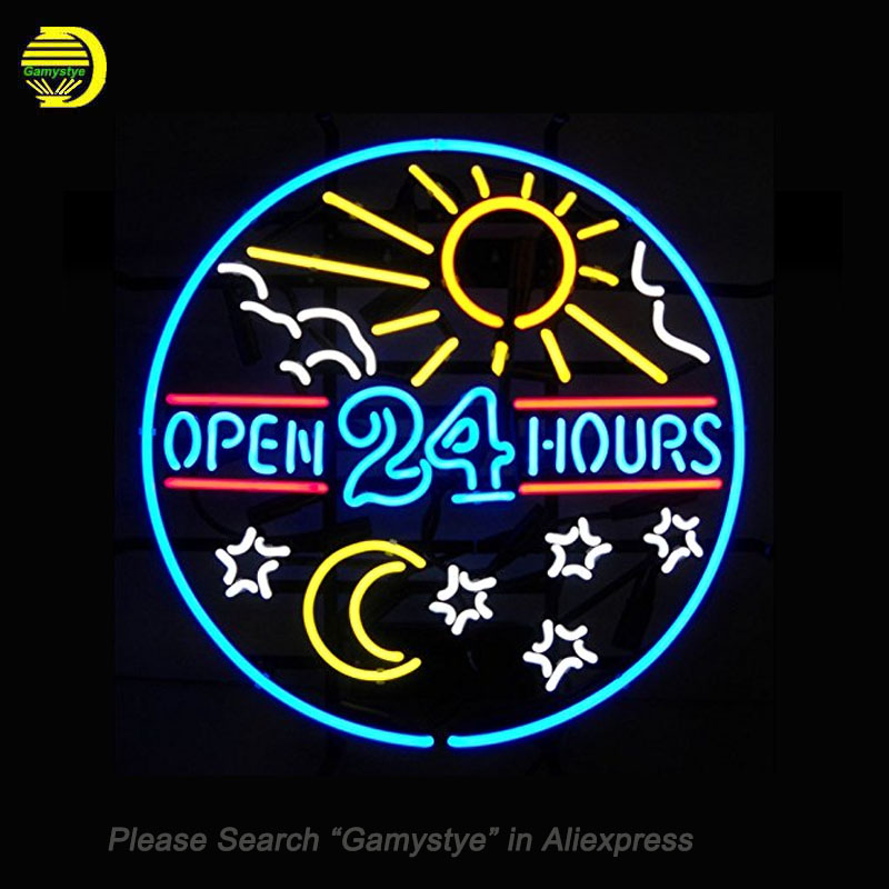 Neon Signs For Open 24 Hours Neon Bulbs Sign Handcraft Decorate Room Night Light Sun Stars Beer CUB Display logo Warranty Sign