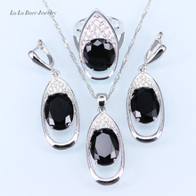 L&B Black stone White Rhinestone Huge Round silver 925 Jewelry Sets For Women Drop Earrings/Pendant/Necklace/Ring