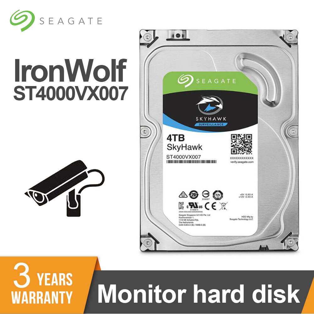 Seagate 4TB 3.5-inch SATA 6Gb/s 64MB Video Surveillance HDD Internal Hard Disk Drive 5900 RPM Cache HDD For Security ST4000VX007