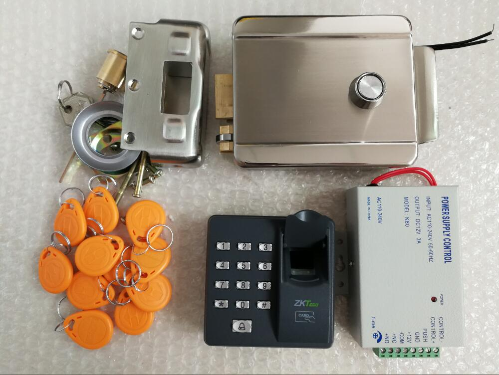 fingerprint access control keypad RFID reader Electronic Security Entry Door Lock Access Control system with 10 ID tags or cards rfid security door lock system kit set with touch access control card reader electronic door lock for wooden door id keychains