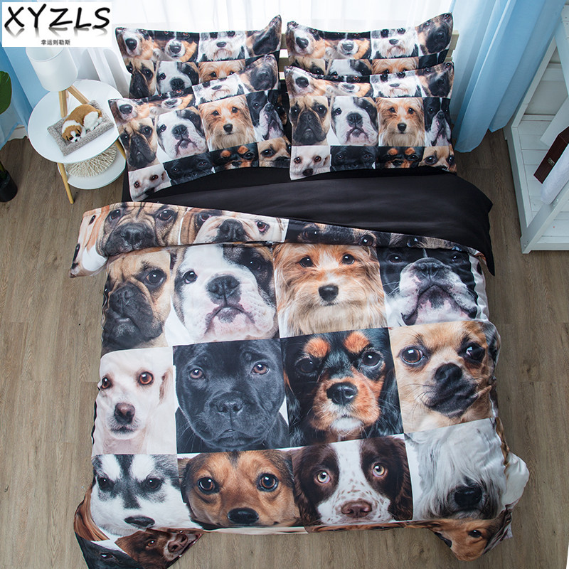 XYZLS Many Dogs Queen Cotton Bedding Set Cats Bed Linings Twin Single Kitten Puppy Bedclothes Double