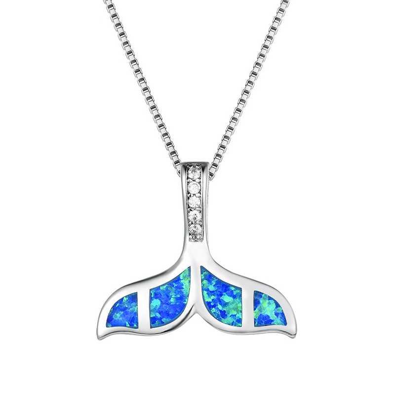 Yüksek Kalite Bakır Kristal Mavi Opal Okyanus Deniz Mermaid Balina Kuyruk Kolye Kolye Için Kadın Hayvan Plaj yaz takısı Hediye