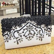 New Listing Women Evening Bag Fashion Beaded Rhinestone Day Clutches PU Shoulder Bag Wedding Party Beading