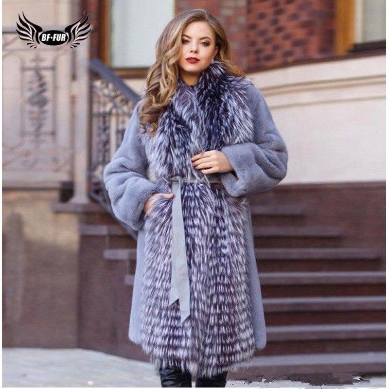 Женская Шуба из натурального меха BFFUR, длинная шуба из натурального меха норки с воротником из серебристой лисы, зимняя верхняя одежда 2019