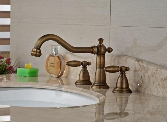Luxury Antique Brass Bathroom Waterfall Basin Faucet Sink Mixer Deck Mounted 3pcs luxury antique brass bathroom waterfall basin faucet sink mixer deck mounted 3pcs
