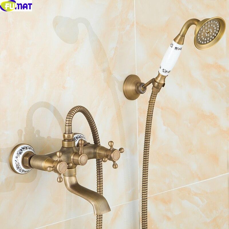 Bathroom Telephone Shower Set European Style Nozzle Retro All Copper Rain  Set Antique Shower Set Ceramic