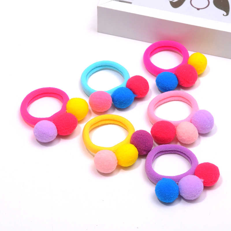 6pcs Colorful 3 Ball Hair Bands Fashion Elastics Rubber Bands for Girls Hair Accessories Cute Headbands Hair Rope Styling Tools