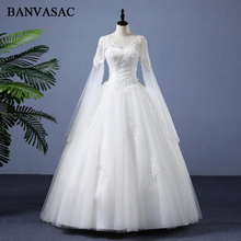 BANVASAC Real Photos Illusion Lace Appliques 2018 Ball Gown Wedding Dresses Long Sleeve Embroidery Plus Size Bridal Gowns