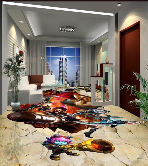 ФОТО Customize 3d Wallpaper league people 3d floor wallaper pvc vinyl wallpaper 3d wallpaper floor rolls