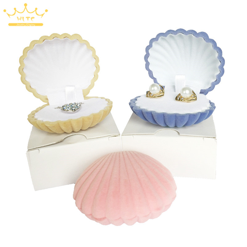 Wholesale Shell Shape Lovely Velvet Wedding Engagement Ring Box For Earrings Necklace Chain Jewelry Display Gift