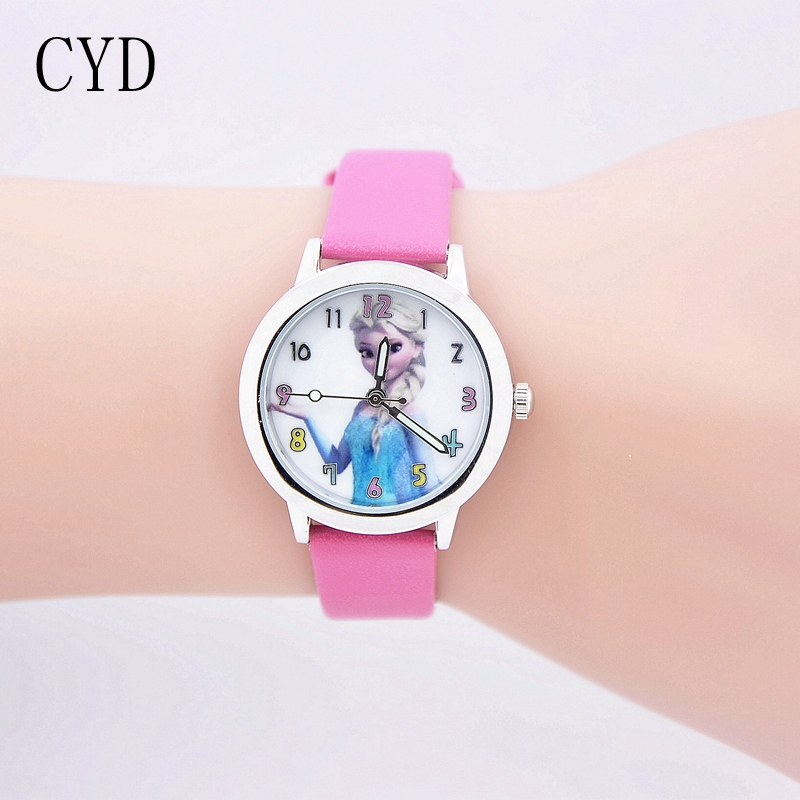 New Princess Elsa Anna Children Kids Cartoon Watch Snow Queen Leather Quartz Watch Fashion Girl Student Clock relogio masculino relogio feminino 2016 new relojes cartoon children watch princess elsa anna watches fashion kids cute leather quartz watch girl