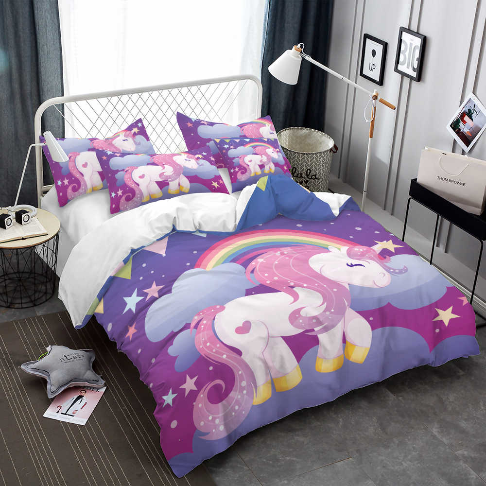 Girls Princess Bedding Set Colorful Unicorn Duvet Cover Bed Sheets Comforter Cover Dreamlike Cartoon Bedclothes Pillowcase D49