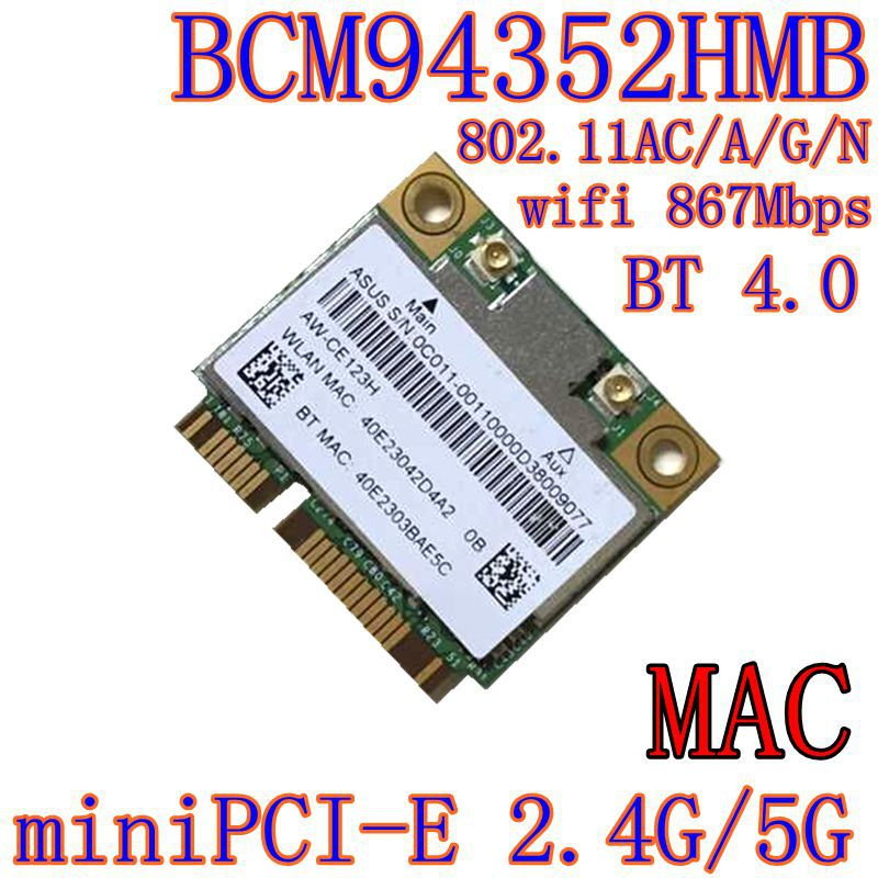 AzureWave AW-CE123H BCM4352 BCM94352HMB Half Mini PCIe PCI-express 802.11AC 867Mbps Wireless WIFI WLAN Bluetooth Card