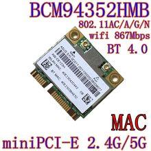 AzureWave AW CE123H BCM4352 BCM94352HMB Half Mini PCIe PCI express 802.11AC 867Mbps Wireless WIFI WLAN Bluetooth Card