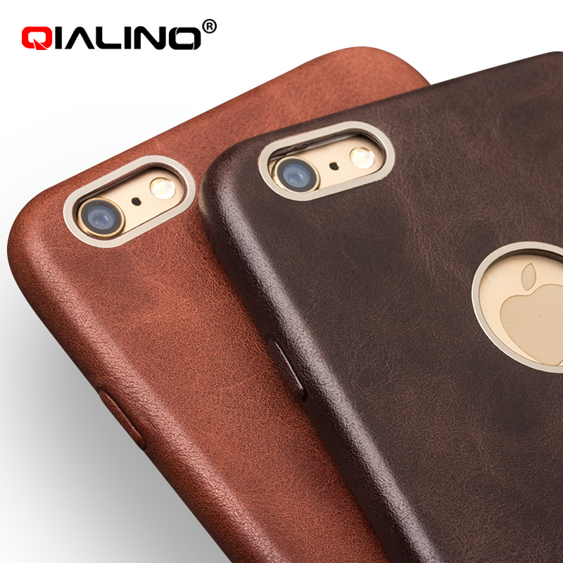 0949d3e9c2c For iphone 6   6 s QIALINO Ultra Thin Genuine Leather phone Cases Back Case  Cover For iphone 6   6s   6 plus 4.7inch 5.5 inch