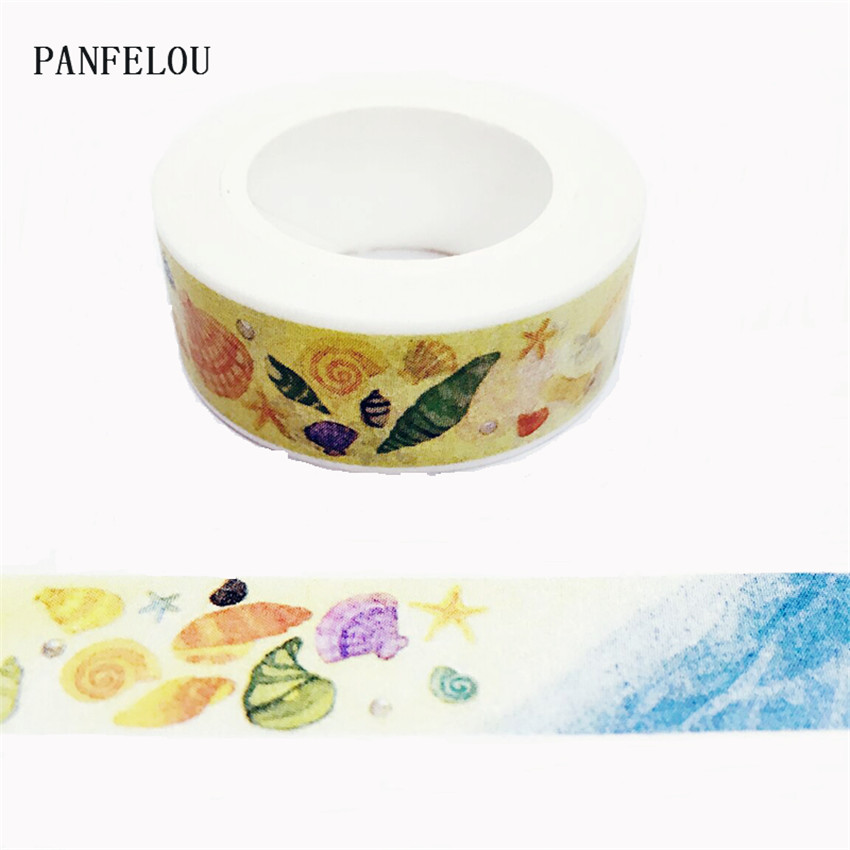10M*15mm The Beach Conch Stickers Washi Masking Tape Quality Good Price HOT Sell  DIY Scrapbook Embellishments Decoration