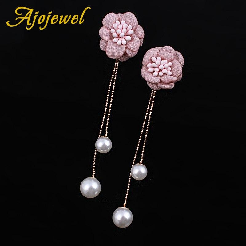 ajojewel beautiful imitation pearl tassel earrings pink