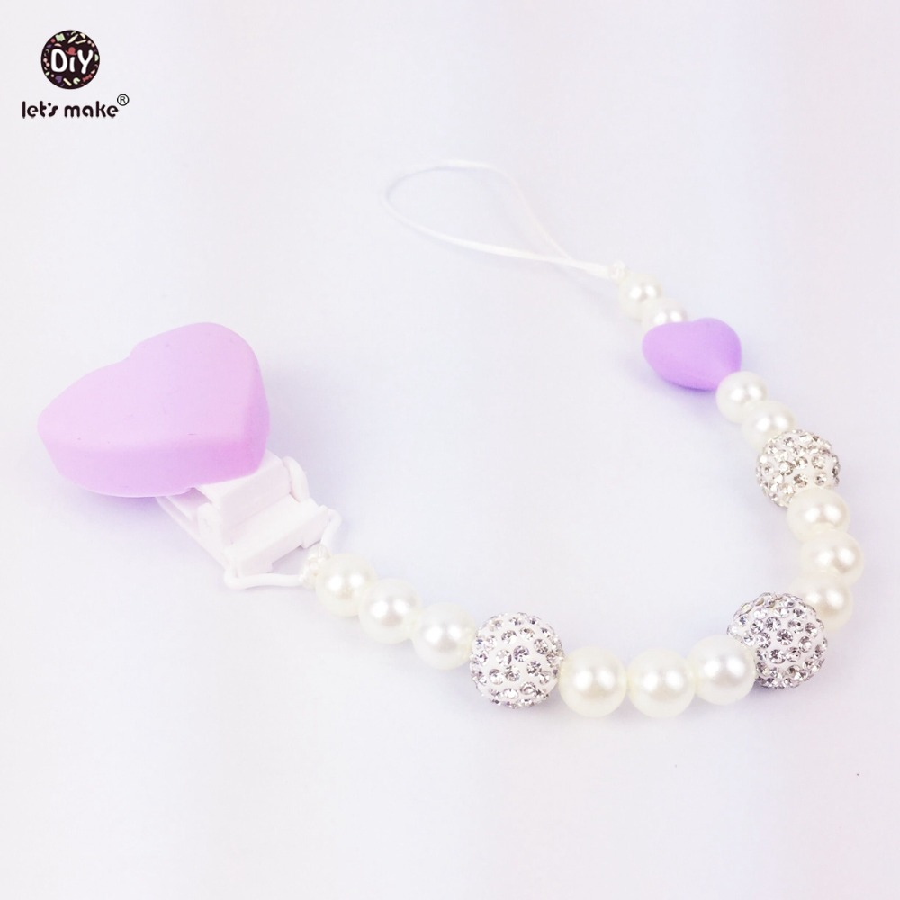 Lets make baby teether Silicone pearl chain clip 2PCS baby teether toys food Nursing material accessories rattle charm