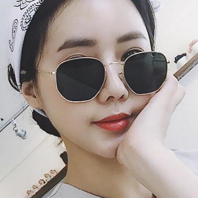 75ac33d87b6 2019 Sunglasses Women Brand Designer Small Frame Polygon Clear Lens Sunglasses  Men Vintage Sun Glasses Hexagon Metal Frame sn614