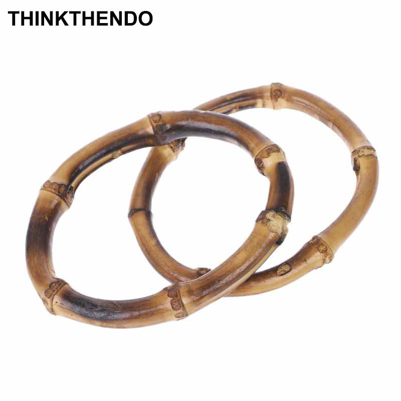 1 X Round Bamboo Bag Handle For Handcrafted Handbag DIY Accessories