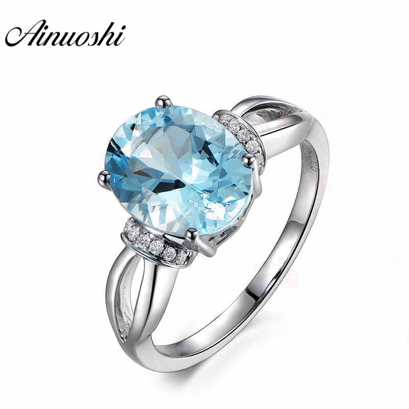 AINUOSHI 5ct Oval Cut Blue Topaz Ring 925 Sterling Silver Hollow Band Design Natural Gemstone Wedding