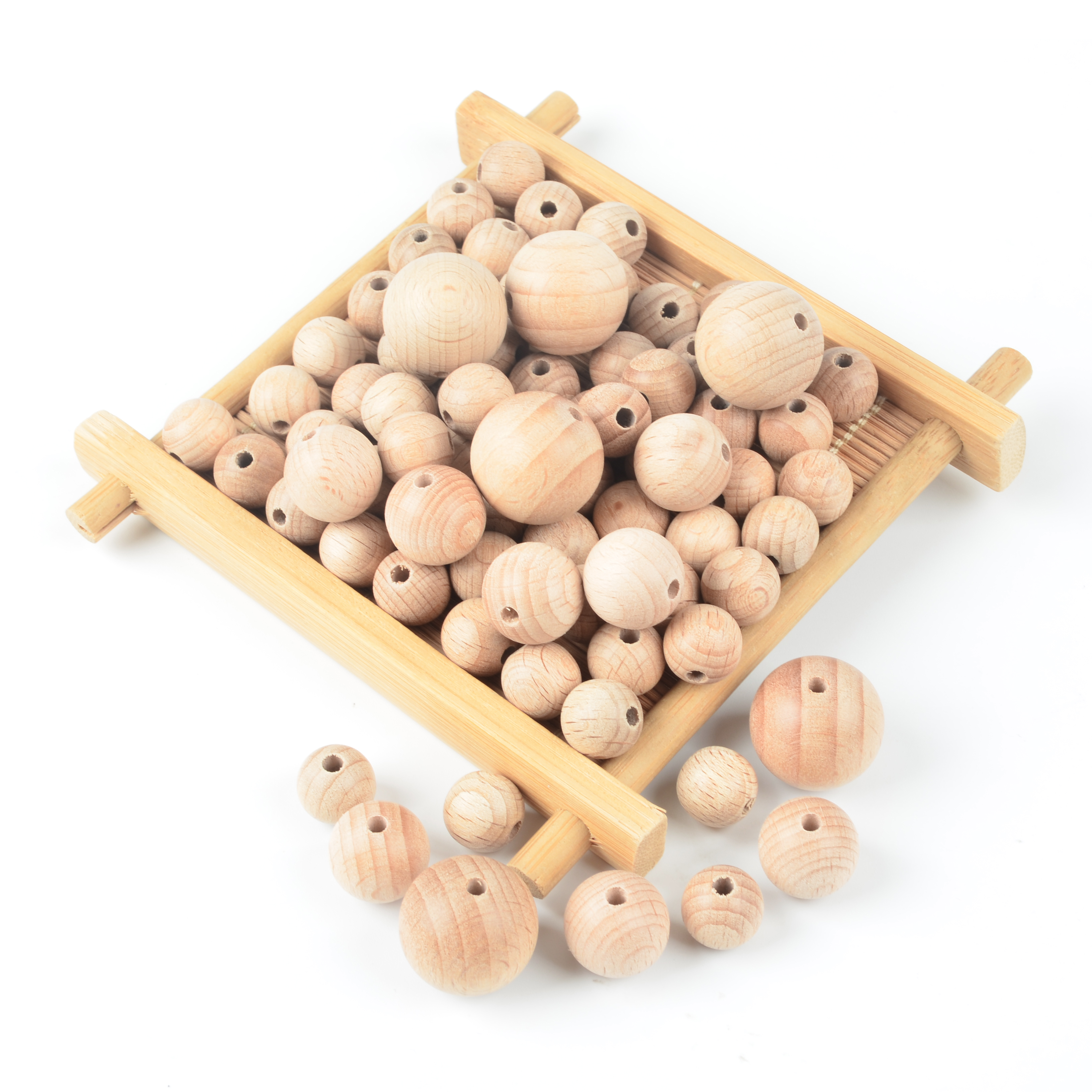 50pcs Wooden Beads Baby Teether Teething Beads 12/15/20mm Natural Ball Round Necklace Accessories Jewelry Making