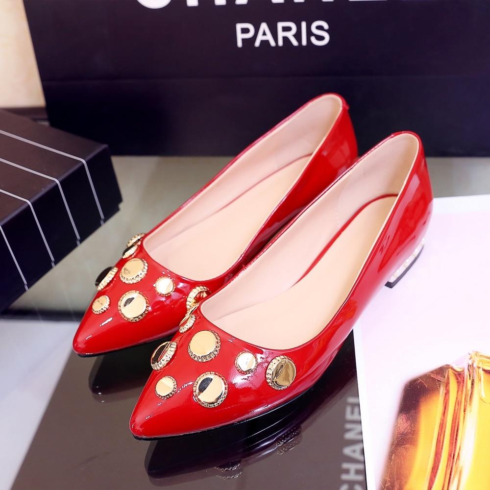 ФОТО Women's Spring Slip-ons Ballet Flats Single Shoes Genuine Leather Ballerinas Female Footwear Ladies Rhinestone Fashion Footwear