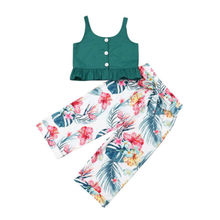 US Toddler Baby Girl Kid T-shirt Vest Top + Wide Leg Pants Outfit Clothes Set