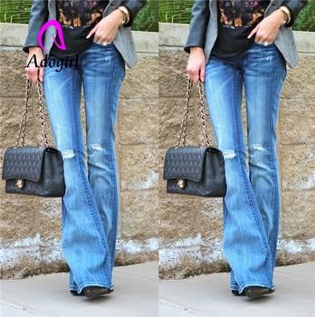 Adogirl knee ripped women long boot cut pants low waist bleached street wear high elastic denim trousers soft full length bottom ripped bleached denim pants