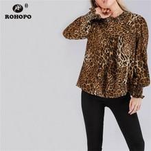 ROHOPO Autumn Long Sleeve Leopard Blouse Lantern Half Tertle neck Sexy Female Pullover Ruffles Top Shirts #OYK8703