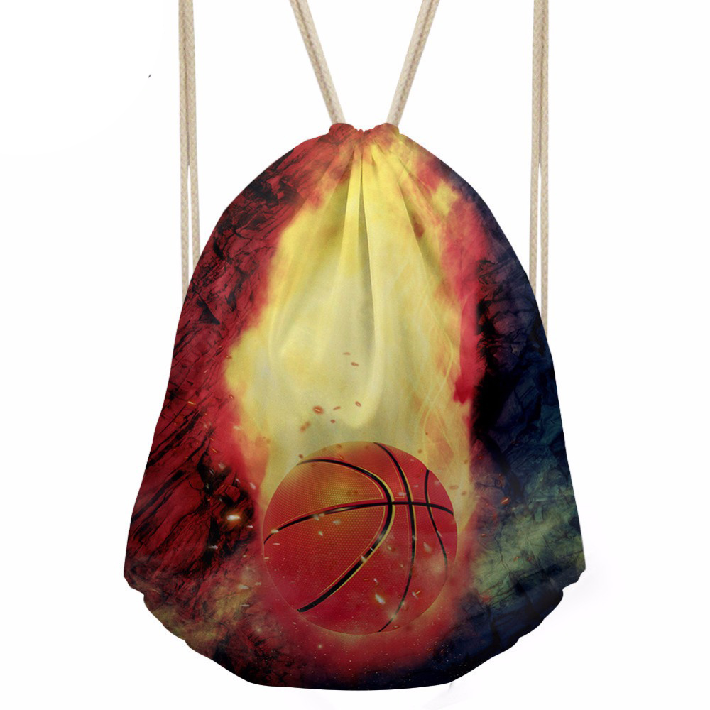 Drawstring Bag Men s Basketball Printing Daypack Teenagers Cool Sports Pouch for Kids Boys Mini Storage