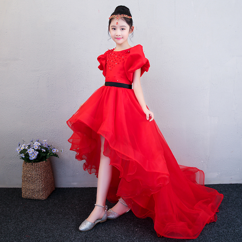 Beading Flower Girls Dress Luxury Red Children Ball Gown Long Trailing Kids First Communion Dresses Pageant Dress Prom Dress A41 half placket pearl beading tie cuff dress