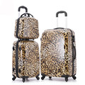 14'' 20'' 24Inch Leopard Printed Luggage/Women ABS Retro Travel Suitcase On Wheels/Vintage Designer Hardside Trolley Bags