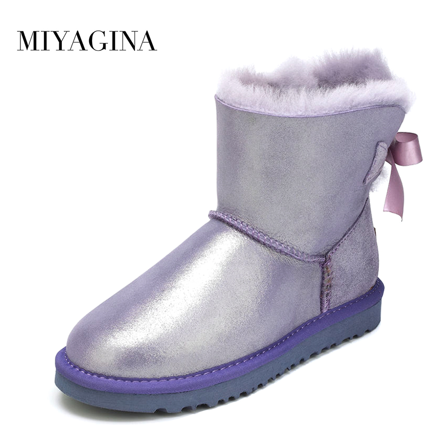 Top New Fashion Genuine Sheepskin Leather Snow Boots Winter Natural Fur Waterproof Shoes for Women Real Wool Mujer Botas new fashion brand women snow boot genuine sheepskin leather snow camouflage boots natural fur winter boots warm wool women boots