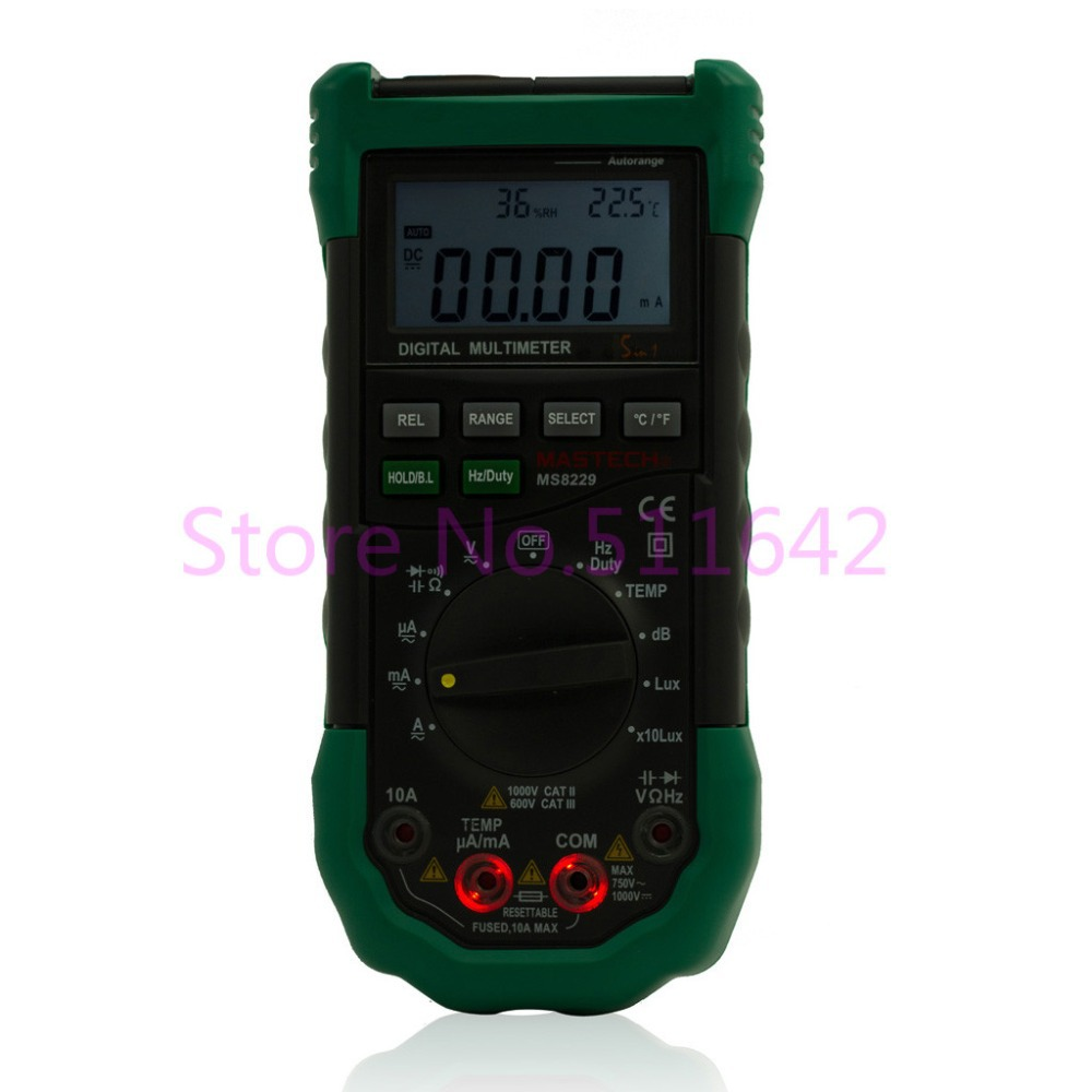 Mastech MS8229 Digital Auto range Multimeter DMM Meter 5 in 1 Multitester Light Sound Level Temperature
