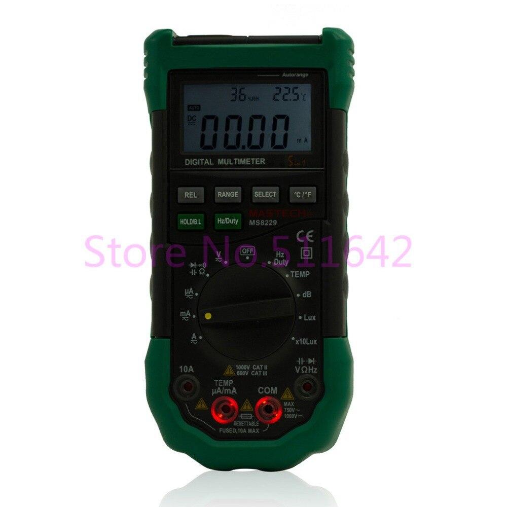Mastech ms8229デジタルオートレンジマルチメータdmmメーター5で1マルチテスター光音レベル温度湿度テスター  グループ上の ツール からの マルチメータ の中 1