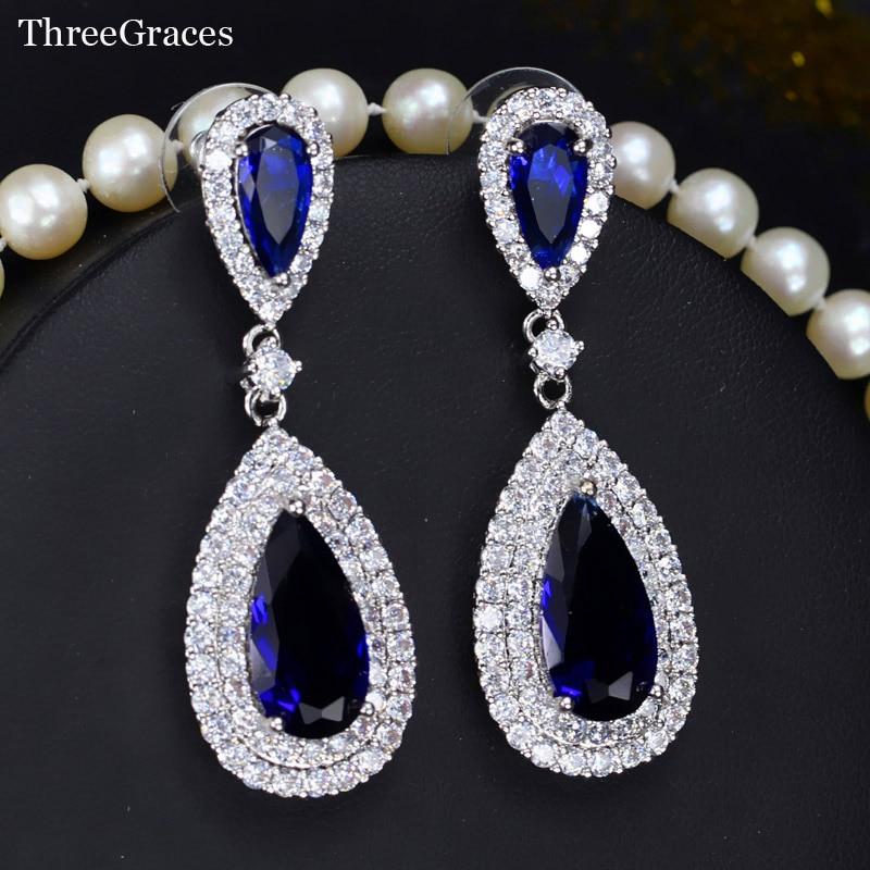 ThreeGraces Elegant Women Royal Blue Long Teardrop Cubic Zirconia Crystal Large Bridal Dangle Earrings Wedding Jewelry ER203