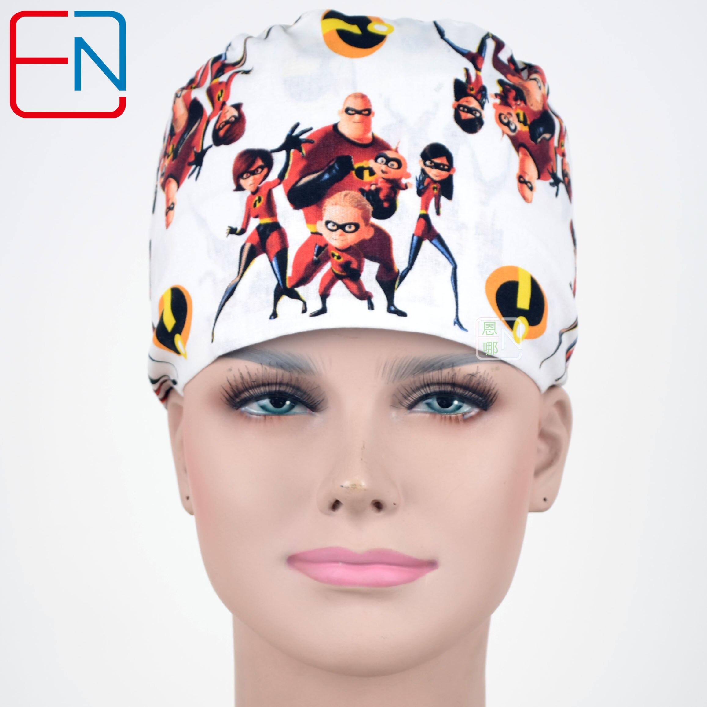 Hennar Women Print Surgical Caps Mask 100% Cotton Medical Caps Adjustable Dentists Surgical Hats Masks