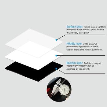 Gran venta pizarra magnética A4 tablero magnético suave, dibujo de borrado en seco y tablero de grabación para refrigerador de nevera con regalo gratis