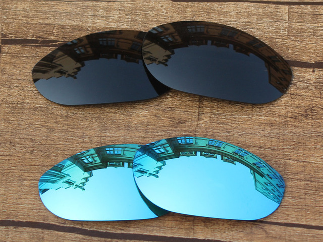 d08b3a6889 Black   Ice Blue 2 Pairs Polarized Replacement Lenses For Monster Dog  Sunglasses Frame 100%