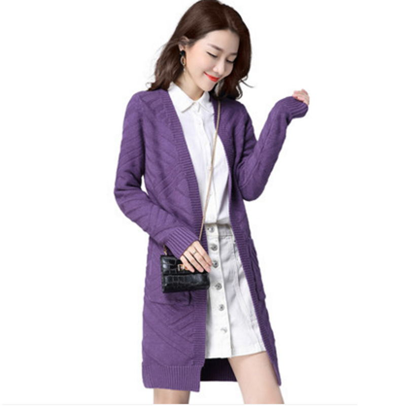 Autumn and winter new high quality womens long sweater cardigan loose large size jacquard solid color sweater TB181102