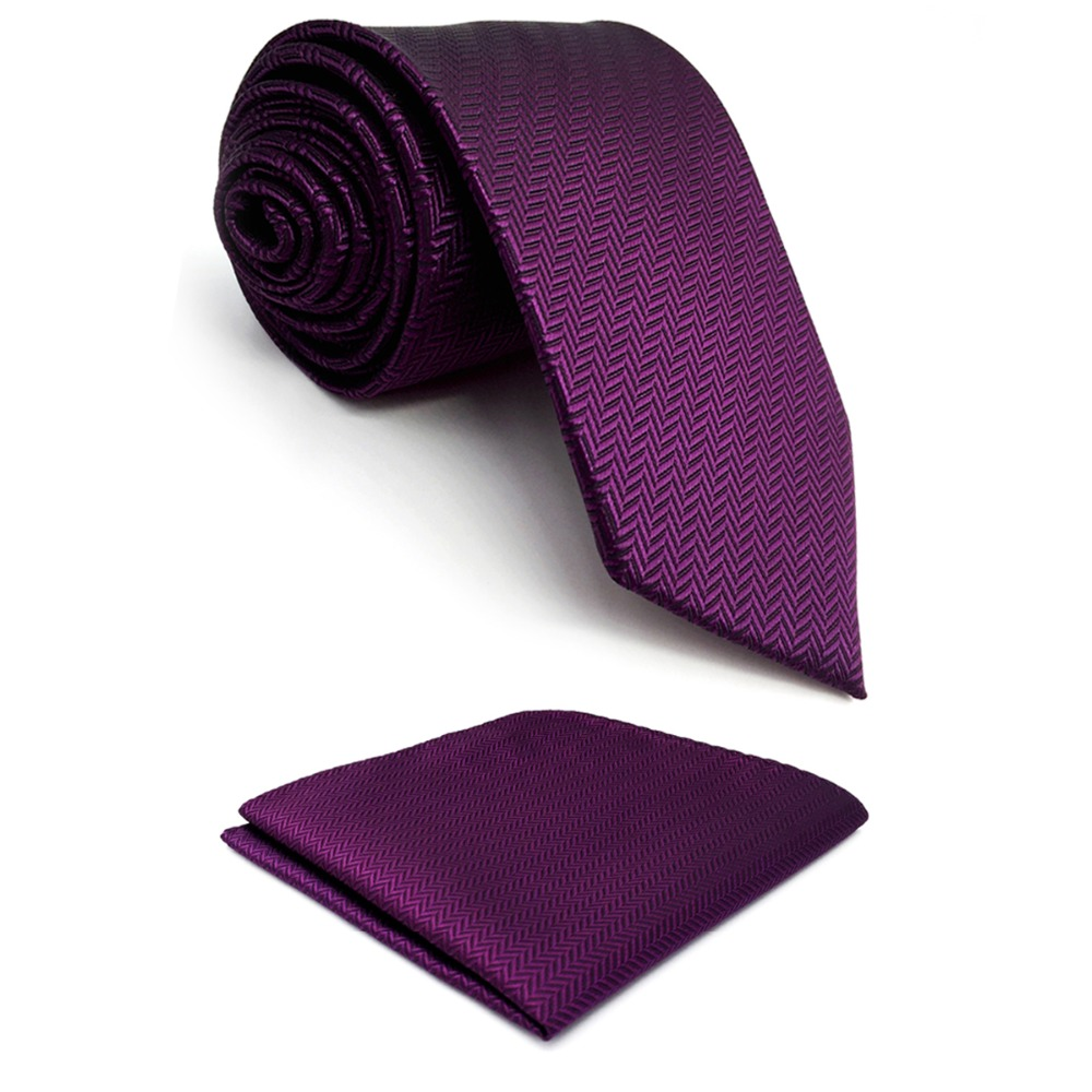 C11 Purple Solid Silk Mens Necktie Set Wedding Classic Ties For Male Dress Accessory Hanky Extra Long Size
