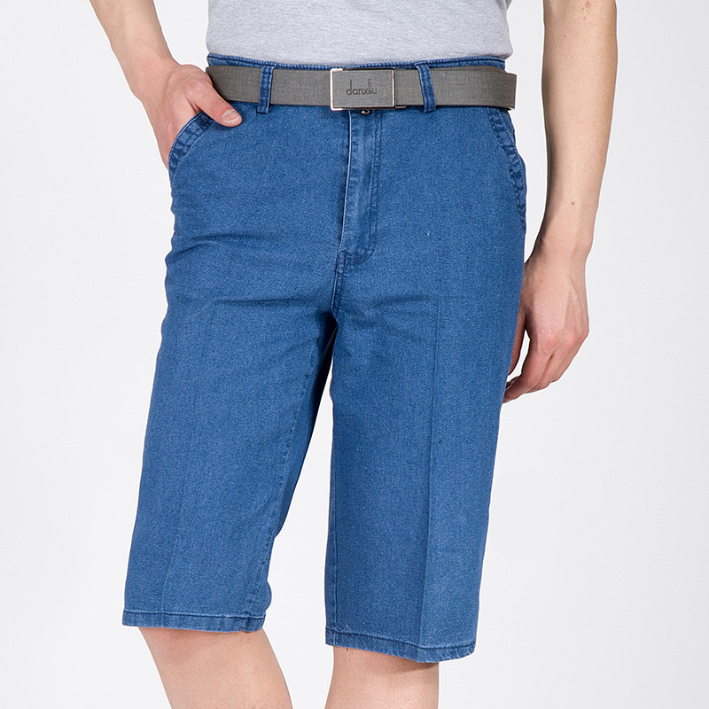 HOT 2017 Fashion summer men jeans straight capri denim overalls biker loose blue mens denim short