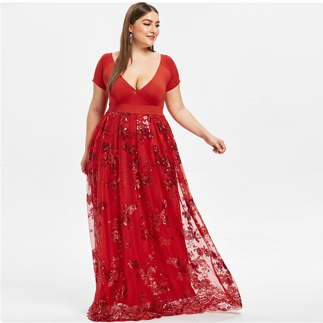 Kenancy Plus Size Sequined Floral Maxi Formal Dress Sexy V Neck Sparkly Low  Cut Party Vestidos b65abf3c7094