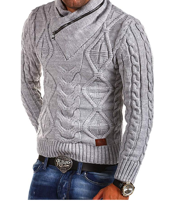 ZOGAA Knitted Sweater Pullover Long-Sleeve Zipper V-Neck Winter Men Plus-Size Casual
