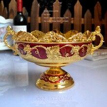 19.5 см круглый золотой красный цветочный тиснением резные сплав металла фрукты лоток хранения сахарница с пьедестала 207B